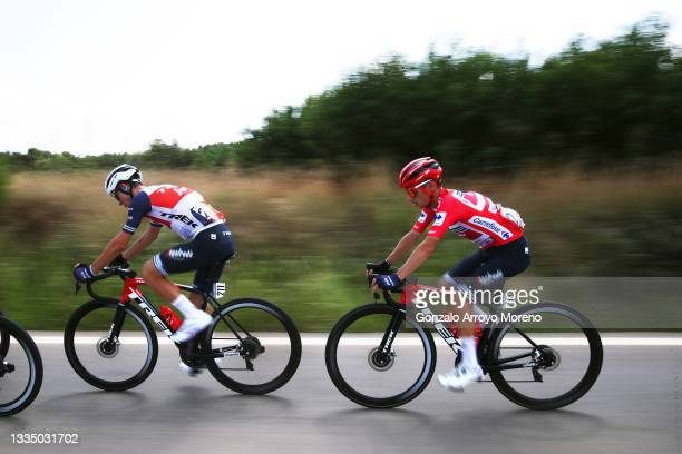 Giulio Ciccone of Italy and Kenny Elissonde of France and Team Trek - Segafredo Red Leader Jersey during the 76th Tour of Spain 2021, Stage 6 a...