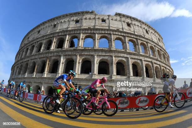 Giulio Ciccone of Italy and Team Bardiani CSF Blue Mountain Jersey / Christopher Froome of Great Britain and Team Sky Pink Leader Jersey / Sergio...