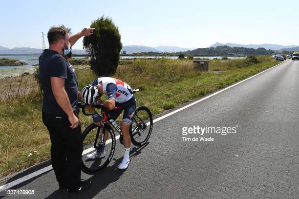 Giulio Ciccone of Italy and Team Trek - Segafredo abandons the race after crash during the 76th Tour of Spain 2021, Stage 16 a 180km stage from...