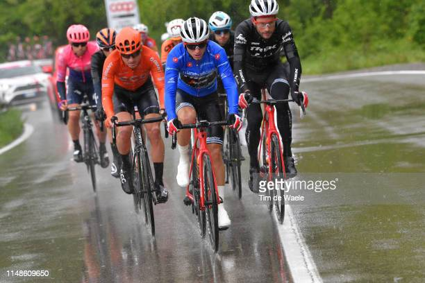 Giulio Ciccone of Italy and Team Trek Segafredo Blue Mountain Jersey / William Clarke of Australia and Team Trek Segafredo / Rain / during the 102nd...