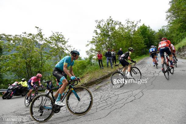Giulio Ciccone of Italy and Team Trek - Segafredo Blue Mountain Jersey / Damiano Caruso of Italy and Team Bahrain - Merida / Mikel Nieve of Spain and...