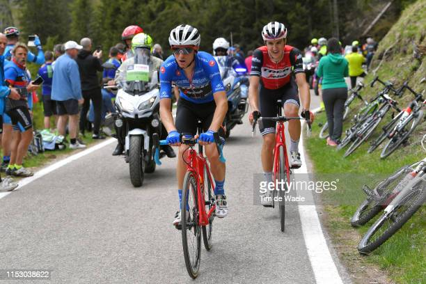 Giulio Ciccone of Italy and Team Trek Segafredo Blue Mountain Jersey / Nicola Conci of Italy and Team Trek Segafredo / Passo Manghen / during the...