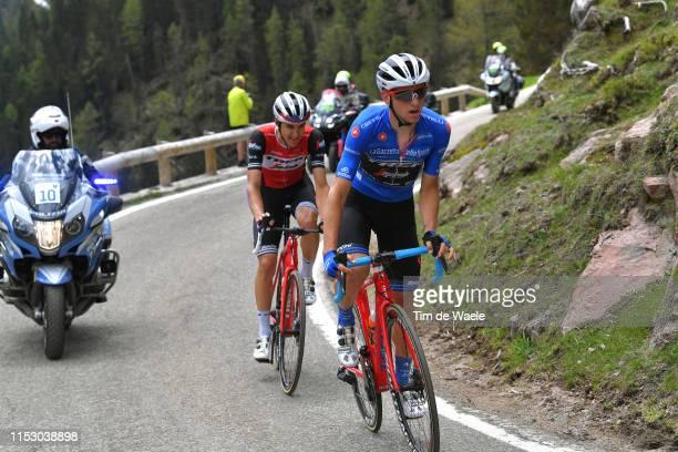 Giulio Ciccone of Italy and Team Trek - Segafredo Blue Mountain Jersey / Nicola Conci of Italy and Team Trek - Segafredo / Passo Manghen / during the...