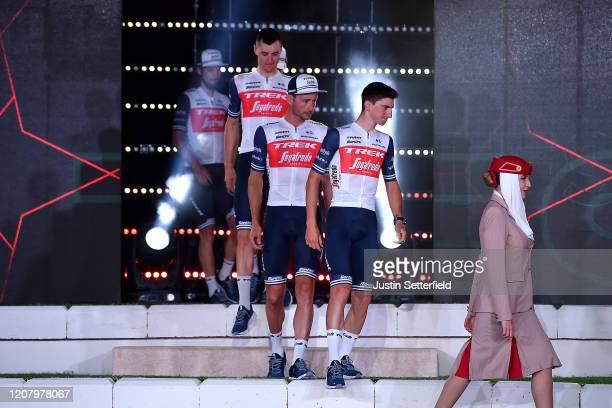 Giulio Ciccone of Italy and Team Trek - Segafredo / Gianluca Brambilla of Italy and Team Trek - Segafredo / William Clarke of Australia and Team Trek...