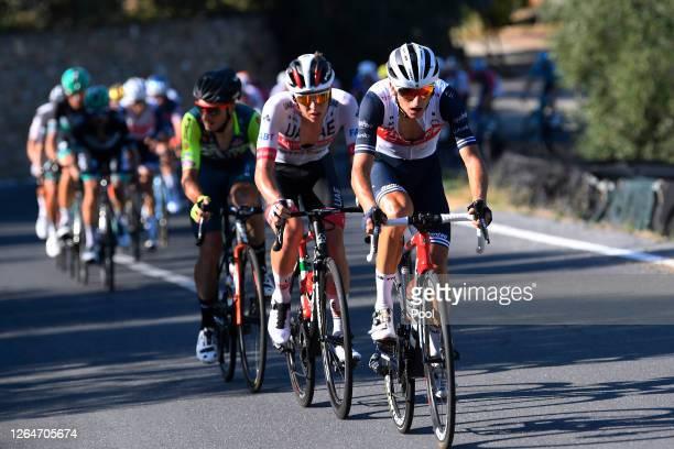 Giulio Ciccone of Italy and Team Trek - Segafredo / Tadej Pogacar of Slovenia and UAE Team Emirates / Cipressa / during the 111st Milano - Sanremo...