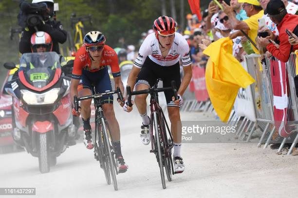 Giulio Ciccone of Italy and Team Trek-Segafredo / Dylan Teuns of Belgium and Team Bahrain-Merida / La Planche des Belles Filles / during the 106th...