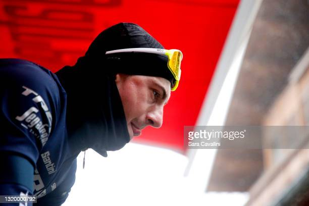 Giulio Ciccone of Italy and team Trek-Segafredo looks on during training under the rain during the 104th Giro d'Italia 2021, Rest Day 2 on May 25,...