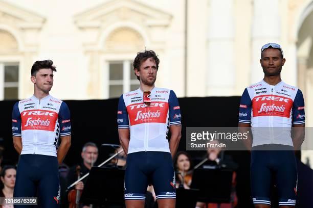 Giulio Ciccone of Italy, Koen De Kort of Netherlands & Amanuel Ghebreigzabhier Werkilul of Eritrea and Team Trek - Segafredo during the 104th Giro...