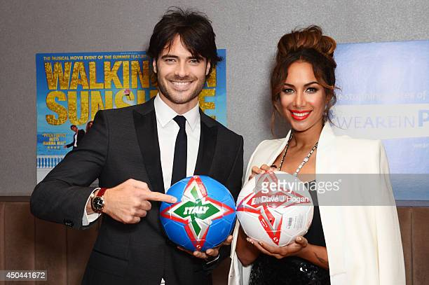 Giulio Corso and Leona Lewis attend the UK premiere of 'Walking On Sunshine' at The Vue West End on June 11 2014 in London England