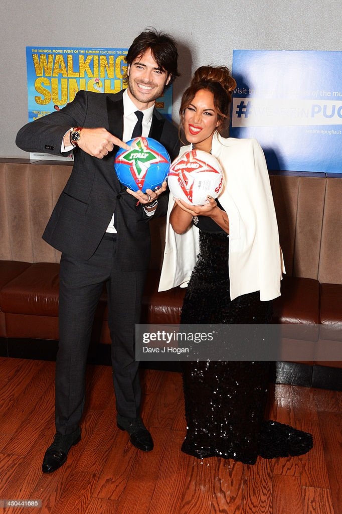 Giulio Corso and Leona Lewis attend the UK premiere of 'Walking On Sunshine' at The Vue West End on June 11, 2014 in London, England.