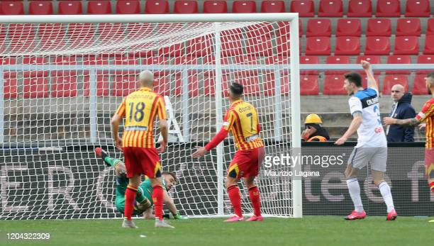 Giulio Donati of Lecce scores a own goal during the Serie A match between US Lecce and Atalanta BC at Stadio Via del Mare on March 1 2020 in Lecce...