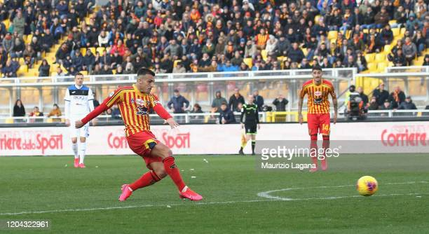 Giulio Donati of Lecce scores his team's second goal during the Serie A match between US Lecce and Atalanta BC at Stadio Via del Mare on March 1 2020...