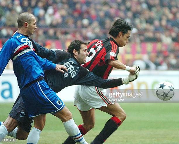 Giulio Falcone Francesco Antonioli and Filippo Inzaghi battle for the ball during the Serie A match between AC Milan and Sampdoria on March 7 in...