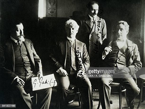 Giulio Gatti-Casazza , David Belasco , Arturo Toscanini Giacomo Puccini at the premiere for The Girl of the West, New York. United States of America,...