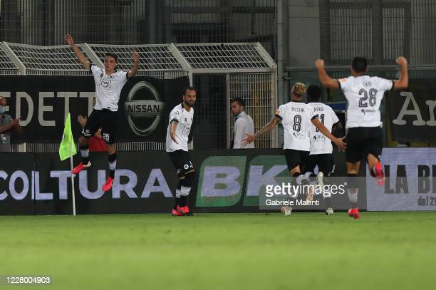 Giulio Maggiore of ASC Spezia celebrates after scoring a goal during the Serie B Playoffs match between ASC Spezia and Chievo Verona at Stadio...