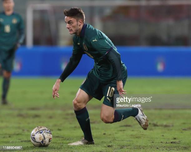 Giulio Maggiore of Italy competes for the ball with of Armenia during the UEFA U21 European Championship Qualifier match between Italy and Armenia at...