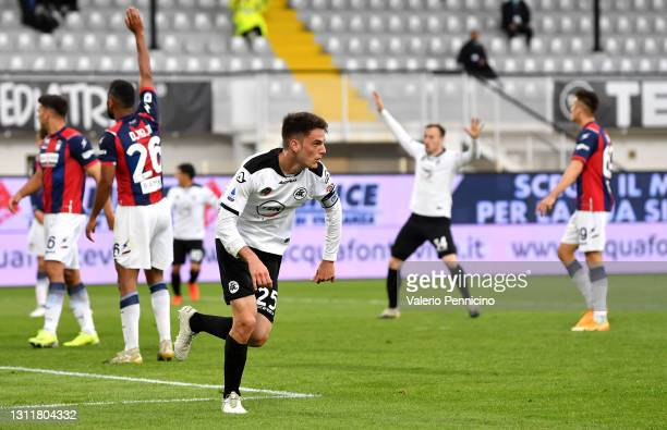 Giulio Maggiore of Spezia celebrates after scoring their team's second goal during the Serie A match between Spezia Calcio and FC Crotone at Stadio...