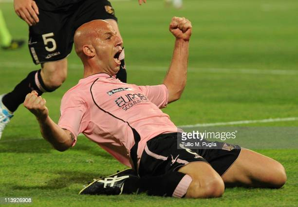 Giulio Migliaccio of Palermo celebrates after scoring the opening goal during the Tim Cup between US Citta di Palermo and AC Milan at Stadio Renzo...