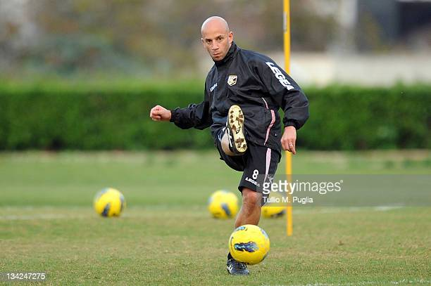 Giulio Migliaccio of Palermo in action during a Palermo training session at Tenente Carmelo Onorato Sports Center on November 29 2011 in Palermo Italy