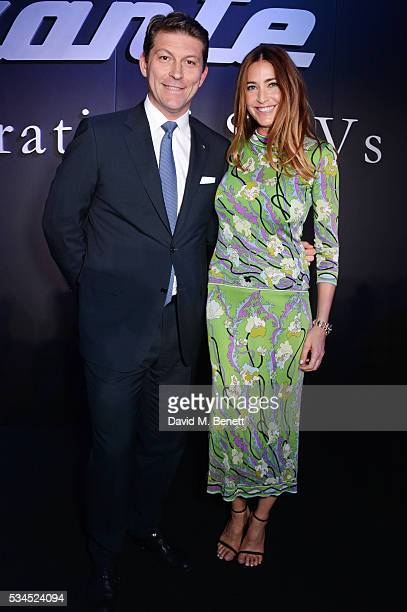 Giulio Pastore General Manager of Maserati Europe and Lisa Snowdon attend the UK VIP reveal of the Maserati Levante SUV at The Royal Horticultural...