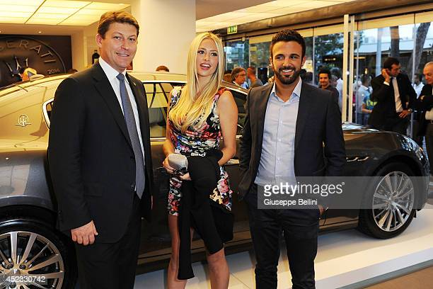 Giulio Pastore general manager of Maserati Europe Martina Stella and guest attends the Maserati Centennial Tour on July 17 2014 in Milano Marittima...