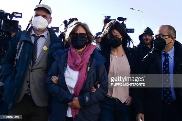 Giulio Regeni's parents Claudio Regeni , Paola Regeni and Giulio Regeni's sister Irene Regeni arrive on October 14, 2021 at the Rebibbia bunker...