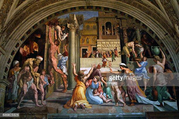 Giulio Romano Italian painter and architect Workshop of Raphael High Renaissance The Fire in the Borgo 1514 Fresco Raphael's Rooms The Room of the...