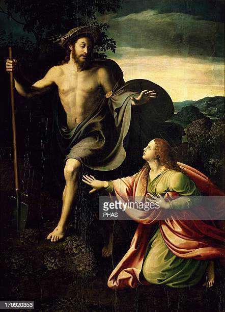 Giulio Romano Italian painter pupil of Raphael Noli me tangere Christ appears to Saint Mary Magdalen after the resurrectIon Wood Mannerism Prado...