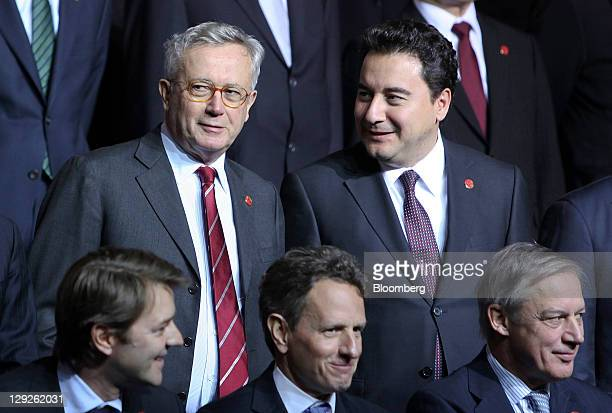 Giulio Tremonti Italy's finance minister left and Ali Babacan Turkey's finance minister wait before the family photograph at the Group of 20 finance...