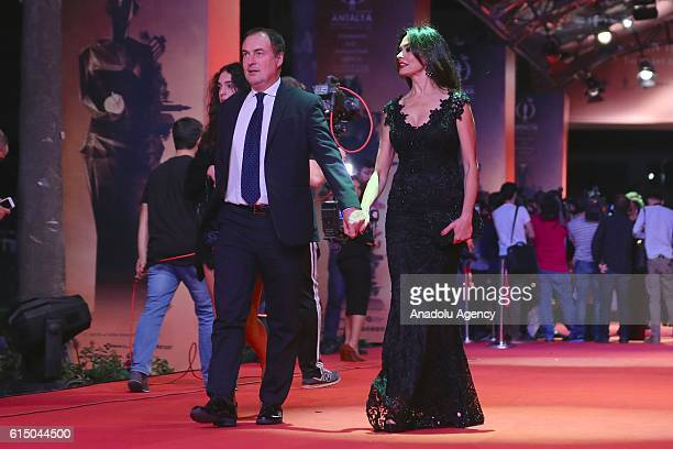 Giulio Violati and Maria Grazia Cucinotta attend a red carpet ceremony during the 53rd International Antalya Film Festival, at the EXPO 2016 in...