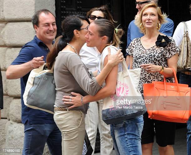 Giulio Violati, Maria Maria Grazia Cucinotta, Regina Baresi and Maria Grazia Severi are sightinged in via Montenapoleone on July 29, 2013 in Milan,...