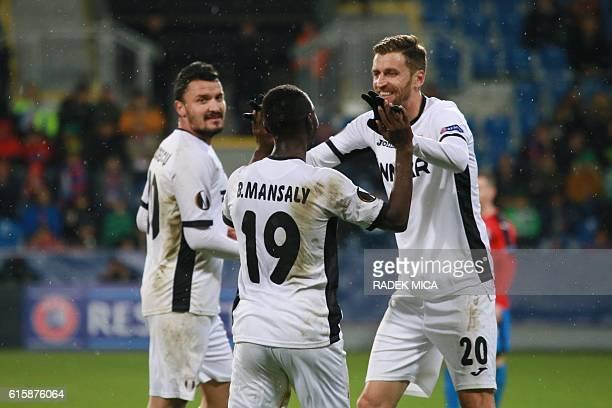 Giurgiu's Boubacar Mansaly celebrates after 02 by an own goal by Plzen during Europa League football match FC Viktoria Plzen v FC Astra Giurgiu at...