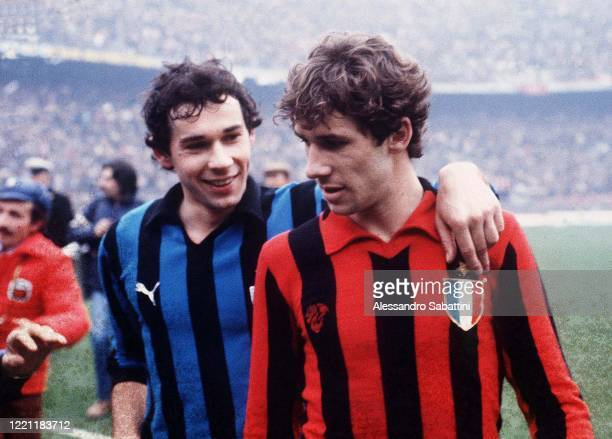 Giuseppe Baresi of FC Internazionale embraces his brother Franco Baresi of AC Milan during the Serie A match between FC Internazionale and AC Milan...