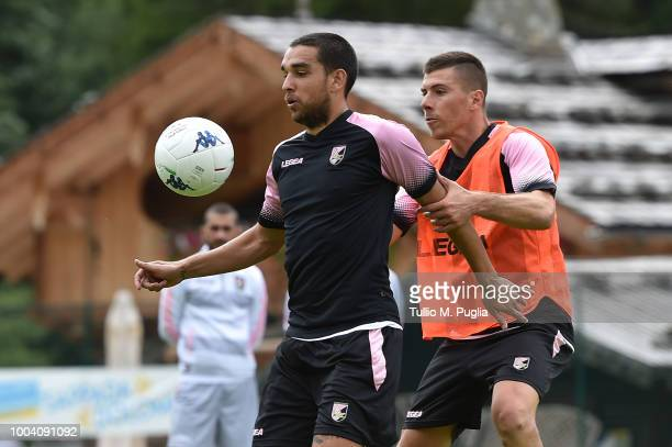 Players of Palermo in action during a training session at the US Citta' di Palermo training camp on July 22 2018 in Belluno Italy