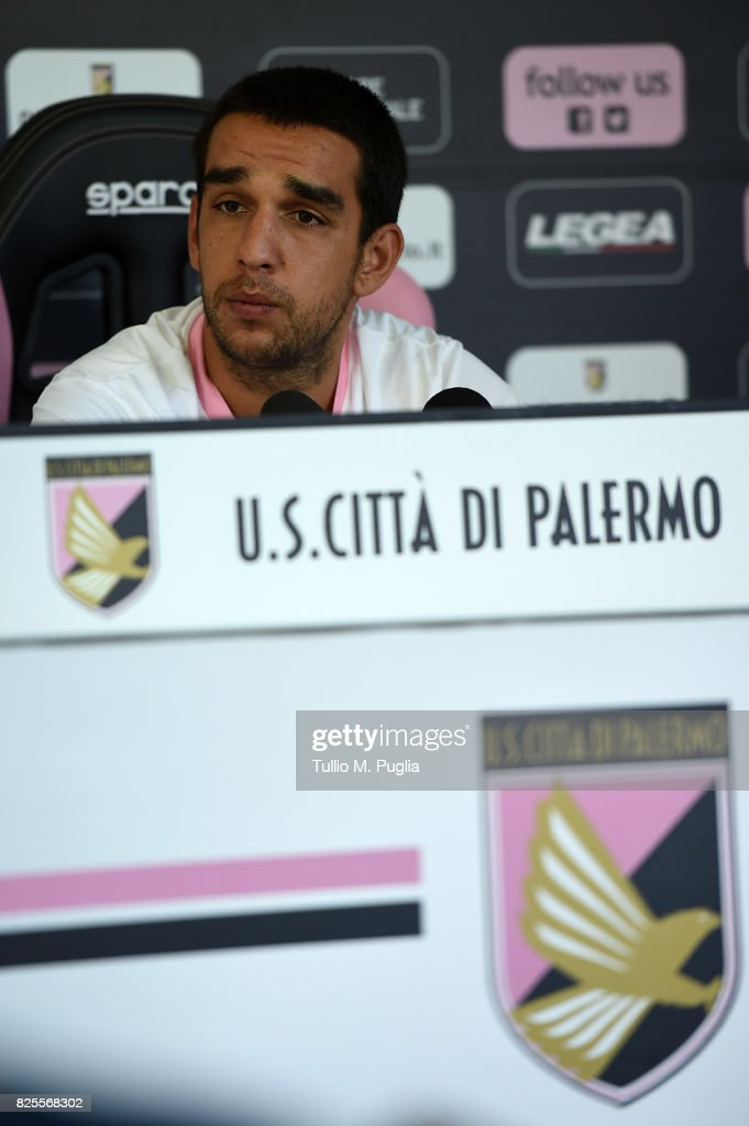 Giuseppe Bellusci answers questions during his presentation as new player of US Citta' di Palermo at Carmelo Onorato training session on August 2, 2017 in Palermo, Italy.