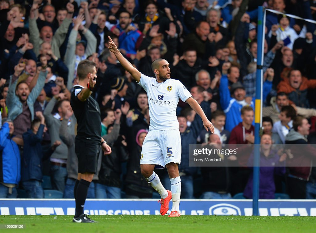Giuseppe Bellusci of Leeds United celebrates scoring their first goal during the Sky Bet Championship match between Leeds United and Sheffield Wednesday at Elland Road on October 4, 2014 in Leeds, England.