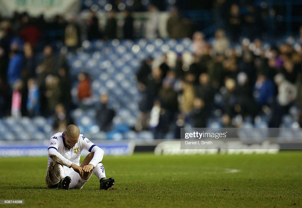 Giuseppe Bellusci of Leeds United FC sits looking dejected after Leeds United were defeated 1-0 during the Sky Bet Championship match between Leeds United and Nottingham Forest on February 6, 2016 in Leeds, United Kingdom.