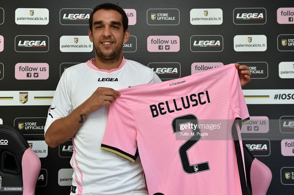 Giuseppe Bellusci poses during his presentation as new player of US Citta' di Palermo at Carmelo Onorato training session on August 2, 2017 in Palermo, Italy.