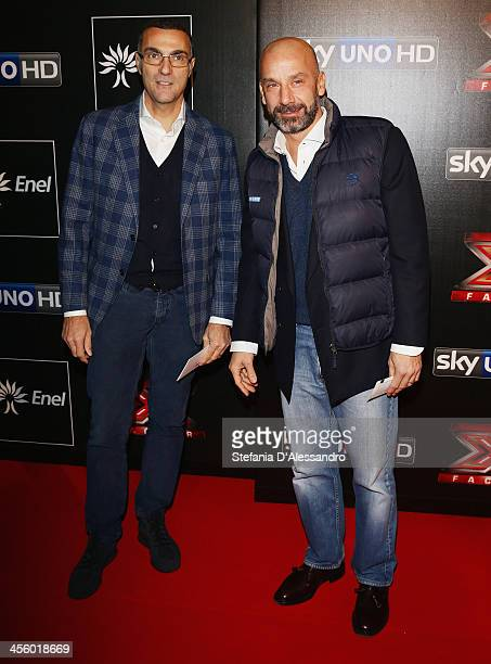 Giuseppe Bergomi and Gianluca Vialli attend X Factor 2013 The Final Red Carpet on December 12 2013 in Milan Italy