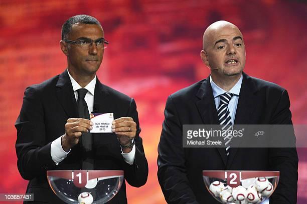 Giuseppe Bergomi ex Juventus and Italy footballer alongside UEFA General Secretary Gianni Infantino during the UEFA Europa League Group Stage Draw at...