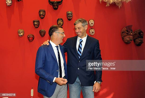Giuseppe Bergomi former footballer and Francesco Toldo former goalkeeper of FC Internazionale pose during their visit at the Indonesia Pavilion at...