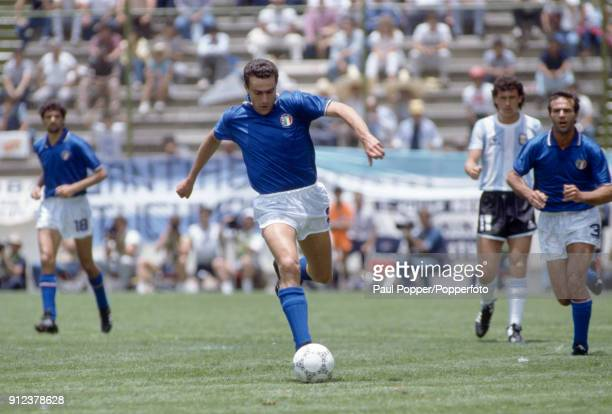 Giuseppe Bergomi in action for Italy during the FIFA World Cup match between Italy and Argentina at the Estadio Cuauhtemoc in Puebla 5th June 1986...