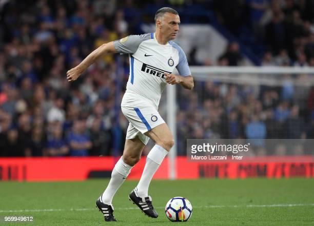 Giuseppe Bergomi of Inter Forever in action during Chelsea Legends v Inter Forever at Stamford Bridge on May 18 2018 in London England