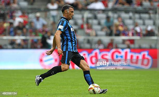 Giuseppe Bergomi of Inter Forever kicks a ball during the friendly match between FCB AllStars and Inter Forever at Allianz Arena on on July 11 2015...