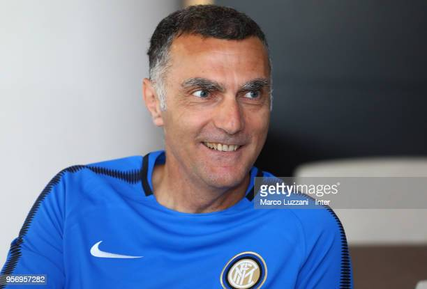 Giuseppe Bergomi of Inter Forever looks on during the FC Internazionale training session at the club's training ground Suning Training Center in...