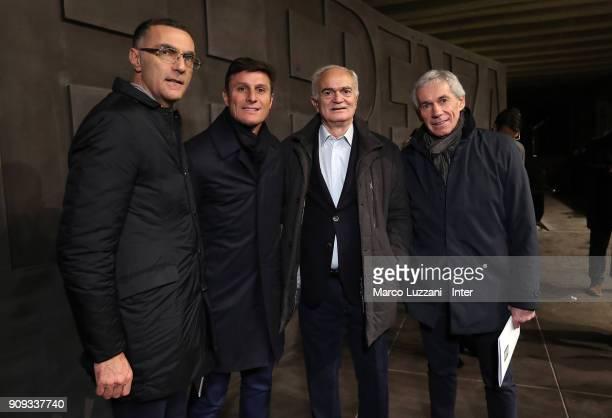 Giuseppe Bergomi Vice President of FC Internazionale Javier Zanetti Sandro Mazzola and Giuseppe Baresi visit The Holocaust Memorial at Stazione...