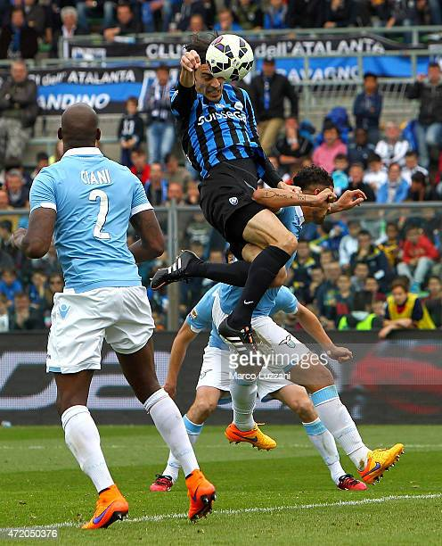 Giuseppe Biava of Atalanta BC scores the opening goal during the Serie A match between Atalanta BC and SS Lazio at Stadio Atleti Azzurri d'Italia on...