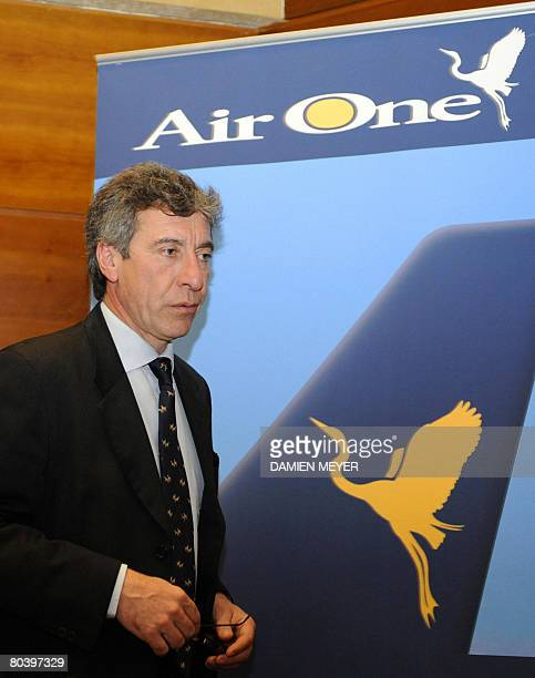 Giuseppe Bonomi president of SEA the company which operates the Malpensa and Linate airports arrivea the Milan's Chamber of Commerce for a press...