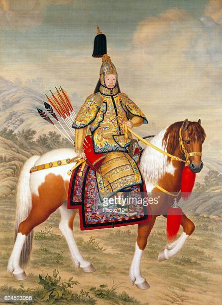 Giuseppe Castiglione Italian school The Qianlong Emperor in Ceremonial Armour on Horseback Ink and colour on silk