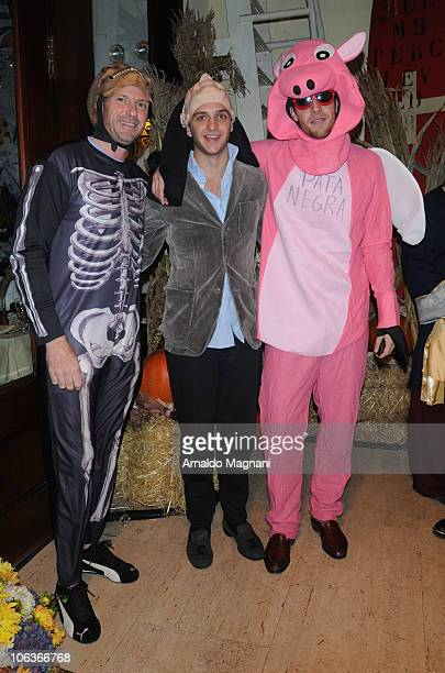 Giuseppe Cipriani, Ignazio Cipriani and Maggio Cipriani arrive at the Halloween party at Cipriani Downtown on October 29, 2010 in New York City.